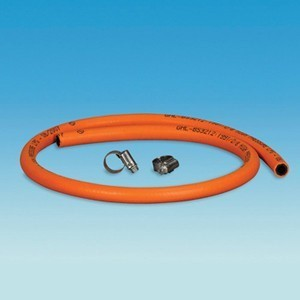 1m Orange HP Gas Hose & Clips